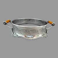 Norman Plate Silver Dish Holder / Ring.  Bakelite Handles.  Reticulated Field.  Gorgeous Art Nouveau.  Mint Condition.