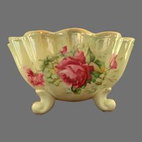 Old Foley Scalloped Bowl on Three Feet.  Roses.  Gold Edged.  Gorgeous.  Mint Condition.