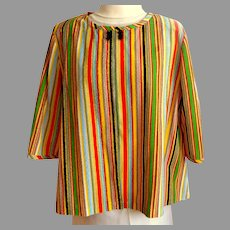 Vintage Polyester Blouse / Top.  3/4 Sleeves.  Multi-color stripes.  Custom Made.  As New Condition.