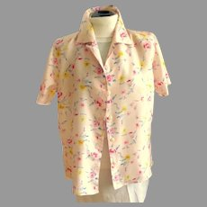 Vintage Pink Flowered 100% Silk Blouse.  Light & Airy.  Size M.  Perfect Condition.