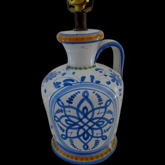 Mexican Talavera Ceramic Table Lamp.  Blue & Orange on White.  Perfect Condition.