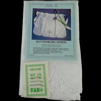 Vintage Battenburg Lace Apron.  100% Cotton.   White.  Unused.  MWT.  Original Package.