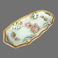 PK Silesia Konigszeit Oblong Bowl.  1914-1922.   Heavily Gilded.  Reticulated.  Floral Paintings.  Perfect Condition.