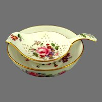 """Royal Crown Derby  Tea Strainer & Drip Bowl.  """"Derby Posies"""" Pattern.  Perfect Condition."""