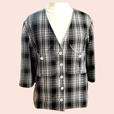 Black and White Soft Plaid Jacket.  White Satin Detailing.  Custom Made.  Mint Condition.