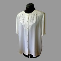 White Polyester Embroidered Lace Blouse.  Lovely.  Classic.  Mint Condition..