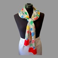 Demaro 100% Silk Scarf.  Rectangle.  Summer Perfect.  Lovely. As New Condition.