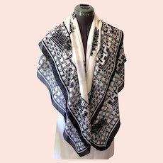 Italian Designer Scarf.  Signed A Bou-Zeinab.  Large.  Black & White Design.  As New Condition.