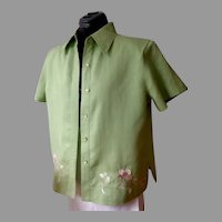 LINO U.S.A. Blouse / Jacket.  100% Embroidered Lined Linen.  Pale Lime Green.  As New condition.