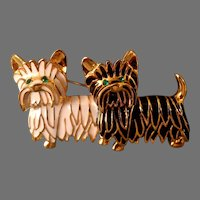 Butler Scotty Dogs Brooch. Black & White Enamel and Gold Tone Outlining.  Adorable.  Mint Condition.