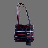 Elegant Tote Purse.  Fabric. Navy Plaid.  Long Straps.  Mint Condition.