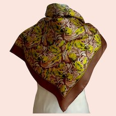 ECHO Designer 100% Silk Scarf. Fall  Colors. Brown, Yellow, Green.  Mint Condition.