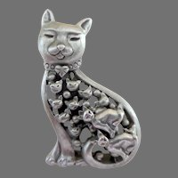 Cat Brooch and Tiny, Tiny Matching Earrings.  Pewter.  Mint Condition.