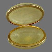Italian  Genuine Alabaster Hand Carved Oval Trinket Box.  Lovely.  Elegant.  Mint Condition.