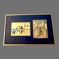 Framed Greek Santorini Island Watercolors. Two.  Signed.  Lovely Blues.   As New Condition.