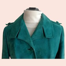 Turquoise Genuine Suede Tailored Jacket.  1965.  London, England.  Good Condition.