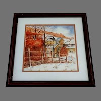 Autumn Village Scene.  Watercolor.  Charming.  Signed.  Canadian Artist.  Professionally framed.