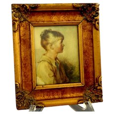 Small Antique Lithograph Young Girl.  Signed.  Charming.  Lovely.