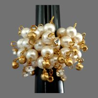 Imitation Pearls and Tiny Rhinestones Dangles Ring.  Gold Tone.  Perfect Condition.