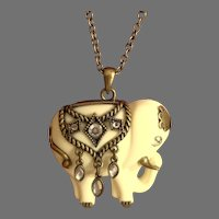 Large Decorated White Elephant.   Very Long Chain with Extender.  Mint Condition.