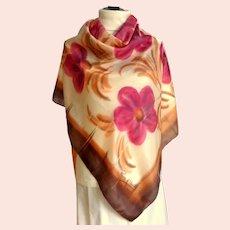 Remoy d'Urville Paris Designer !00% Silk Scarf.  Autumn Colors.  Lovely.  Perfect Condition.