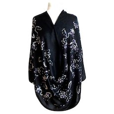 Black 100% Pashmina with Tambour Embroidery & Sequins.  Totally Gorgeous.  As New Unworn Condition.