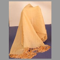 Long, Fringed, Shibori Pleated Scarf. Light toast color.  Beautiful.  Mint condition.