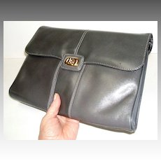 Genuine Leather Grey Clutch / Handbag.  Elegant classic!  Quality!  Mint condition.