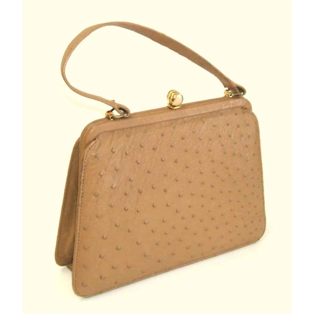 c22eff241 CORBEAU CURIO Ostrich Leather Purse. 1960's. Superb quality!! Mint : Books  and Bygones | Ruby Lane