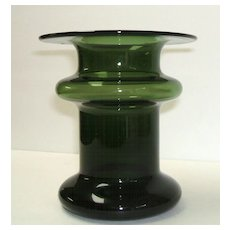 Finland Candleholder  /  Vase.  Art Glass.  Green.  Masterpiece mid-century modern.  Perfect condition.