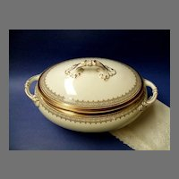 Superb Cauldon Large Lidded Tureen  /  Vegetable Dish. 1905-1920.  Gold & White.  Perfect condition!