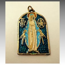 Virgin Mary Medal.  Italian.  Enameled. Heavy.