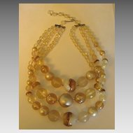 Gorgeous Vintage 1960's Lucite Graduated 3 Strand Necklace