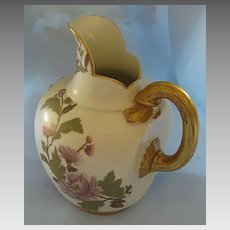 Beautiful Antique Royal Worcester Handpainted Floral Porcelain Pitcher with Gold Gilt- Circa 1889