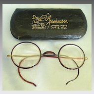 "Wonderful Vintage Round ""Owl"" Spectacles Celluloid with 12K Gold Fill- Advertising Case"