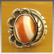 Stunning Vintage Navajo Stripped Agate Sterling Silver Ring