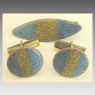 Wonderful Vintage Enamel on Copper Cuff Links and Tie Clasp Set
