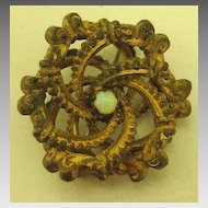 Lovely Edwardian Love Knot Pin or Brooch with Opal Center