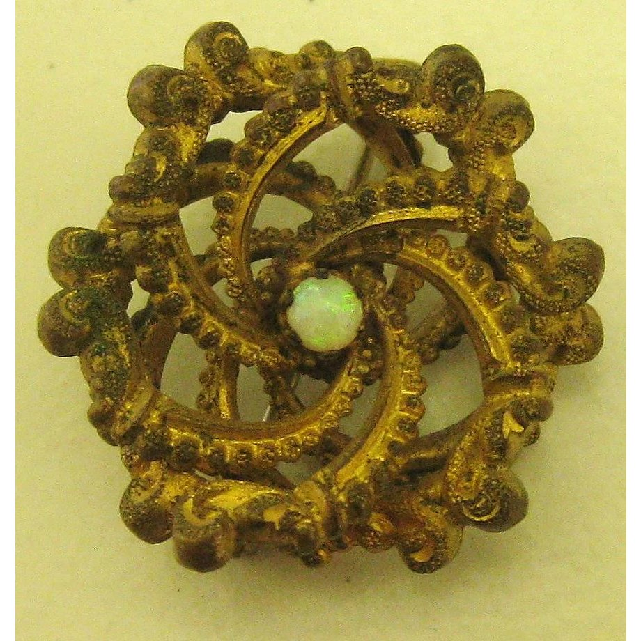 Lovely edwardian love knot pin or brooch with opal center for Used jewelry san diego