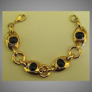 Classic and Sophisticated Vintage Monet Black and Gold Tone Link Bracelet