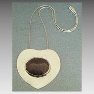 "Huge Chunky Sterling Silver Heart Pendant with Bezel Set Jasper and 18 "" Chain"