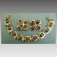 Wonderful Vintage Gold Tone Fleck Brown Thermoset and AB Rhinestones Bracelet and Clip Earrings Demi Parure