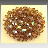 Chunky Sparkling Vintage AB Amber Crystal Brooch