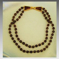 Beautiful Vintage Root Beer Faceted Glass Bead Double Strand Necklace with Gorgeous Clasp