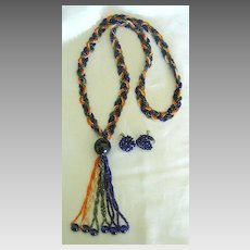 Sparkling Vintage Tiny Glass Bead Braided Necklace with Dangles and Cluster Earrings