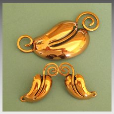 Modernist Vintage Copper Leaf Brooch and Clip Earrings- Excellent Condition