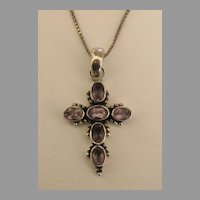 Sparkling Amethyst and Sterling Silver Cross with 16 Inch Chain
