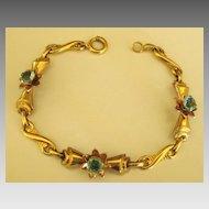 Pretty Vintage Gold Filled Blue Rhinestone Flower Link Bracelet