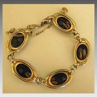 Lovely Vintage Signed Gold Fluss Stripe Black Cabochon Link Bracelet