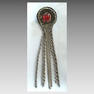 Dramatic Vintage Long Dangle Brooch with Red Glass Cabochon